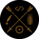 A logo in mid-dark-brown detailing a cross of arrows with four icons in each triangular space: a coding symbol in the top, a quill and inkpot in the left, a barrel in the right and a circular saw blade in the bottom